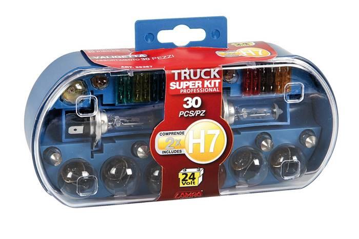 Bilpære og sikringer sæt H7 24 volt 30 stk. pakke med bilpærer