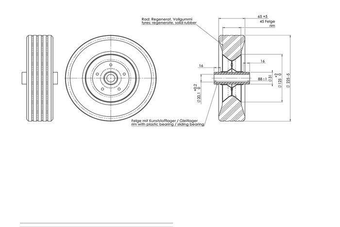 Hjul AL-KO til næsehjul - gummidæk med stålfælg SB 225x70