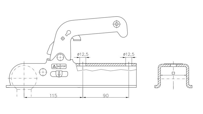 Kuglekobling WW 150-VG til trailer 1500 kg firkantprofil 70x70 Winterhoff