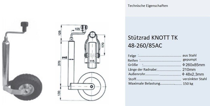 Næsehjul KNOTT TK 48-260/85AC