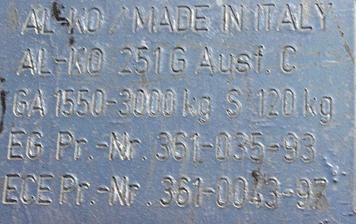Påløbsbremse AL-KO 3000kg V 251G AK301