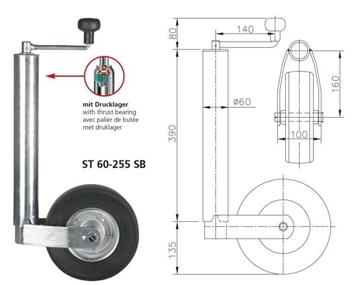 Støttehjul ST 60-255 SB Winterhoff
