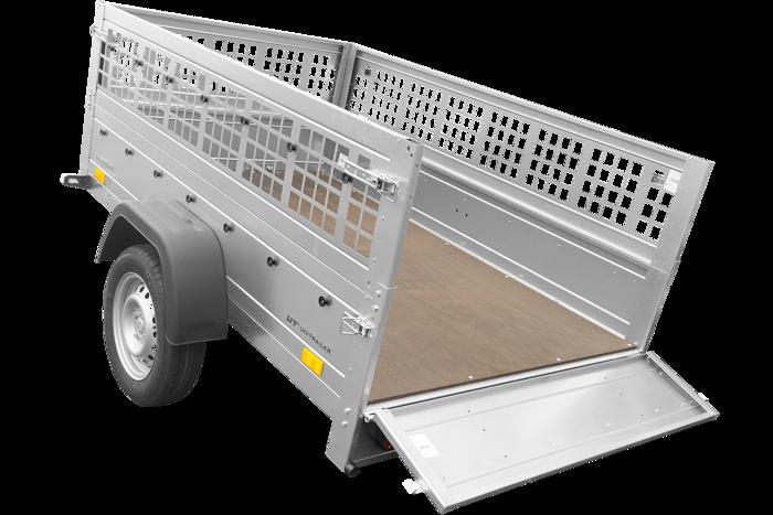 Tiptrailer 200 x 125 med ekstra gittersidesæt og næsehjul totalvægt 750 KG Garden Trailer 201 Unitrailer